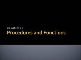 Procedures - School of Computing Homepage