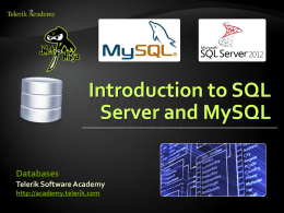 Introduction to SQL Server and MySQL