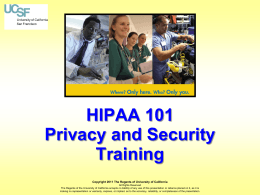 - HIPAA - UCSF Privacy and