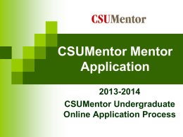 CSU Mentor Online Application