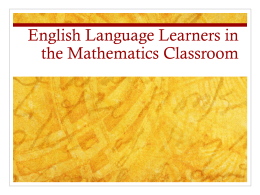 Language in the Mathematics Classroom