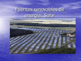Fuentes renovables de energía: Solar