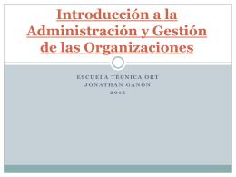 Introducción a la Administración y Gestión de las