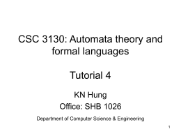 CSC3130 Tutorial 4 - Chinese University of Hong