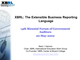 XBRL GL and Audit - Bryant University