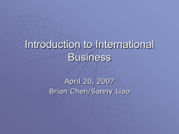 Introduction to International Business -