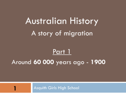 Australian History a story of migration -