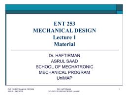 ENT 253 MECHANICAL DESIGN