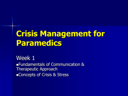 Crisis Management of Paramedics