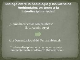 Diálogo entre las Ciencias Sociales y las Ciencias
