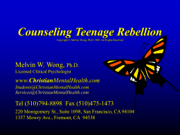 Counseling Teenage Rebellion