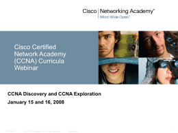 Cisco Networking Academy New CCNA Curricula