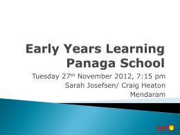 Welcome Back! - Panaga School