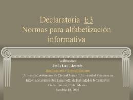 DECLARATORIA Normas para alfabetización