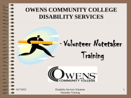 Volunteer Notetaker Training