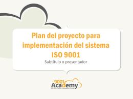 Plan del proyecto para implementación del sistema
