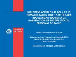 IMPLEMENTACIÓN DS 59 DEL 6.09.13, TOMADO RAZON CGR