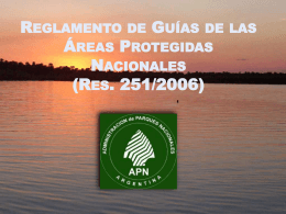 Reglamento de Guías de las Áreas Protegidas