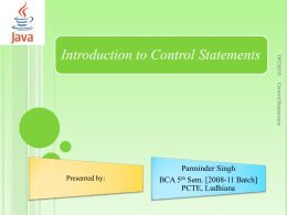 Introduction to Control Statements