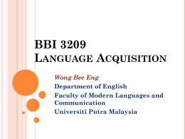 BBI 5210 Second Language Acquisition