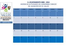 H. AYUNTAMIENTO 2009 – 2012 AGENDA DE ACTIVIDADES