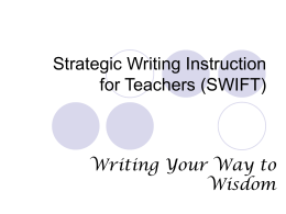 Strategic Writing and Instruction for Teachers