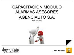 CAPACITACIÓN MODULO ALARMAS ACCESORIOS. AGENCIAUTO