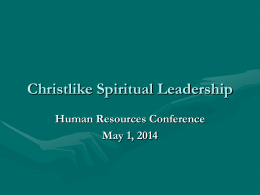 Christlike Spiritual Leadership