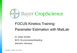 FOCUS Kinetics Training: Parameter Estimation with