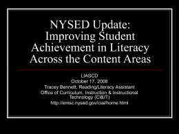 NYSED Update: Improving Student Achievement in