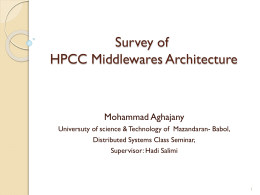 Survey of HPCC Middlewares Architecture