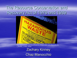 The Resource Conservation and Recovery Act of 1976