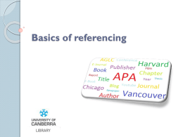 Basics of referencing - University of Canberra
