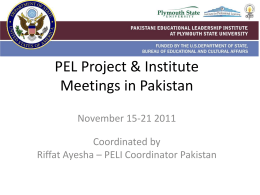 PEL Project & Institute Meetings in Pakistan