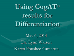 CogAT® and Differentiation