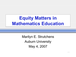 Equity Matters in Mathematics Education