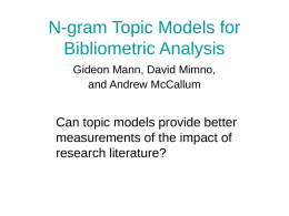 N-gram Topic Models for Bibliometric Analysis