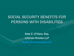 GOVERNMENT BENEFITS FOR PERSONS WITH DISABILITIES