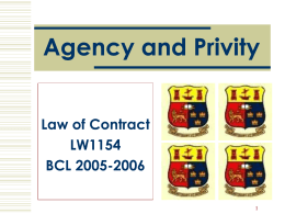 Agency and Privity