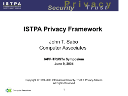 ISTPA Privacy Framework Overview