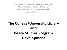 The Role of the Library in Peace Studies Program