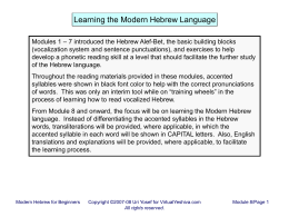 Learning the Modern Hebrew Language