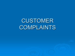 CONSUMER COMPLAINTS - North American Securities