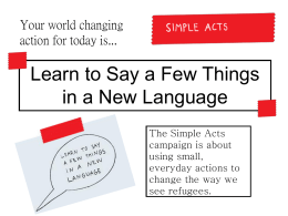 Simple Acts Campaign introduction