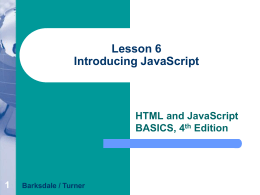 Lesson 6 Introducing JavaScript