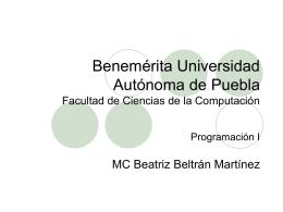 Benemérita Universidad Autónoma de Puebla Facultad
