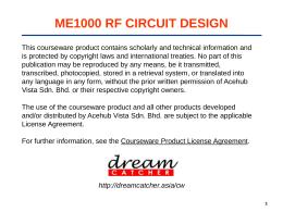 ME1000 RF CIRCUIT DESIGN