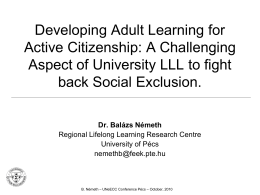 Developing Adult Learning for Active Citizenship: