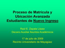 Proceso de Matrícula y Ubicación Avanzada