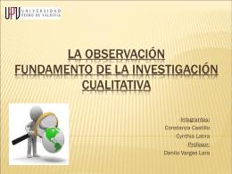 La Observación Fundamento de la Investigación